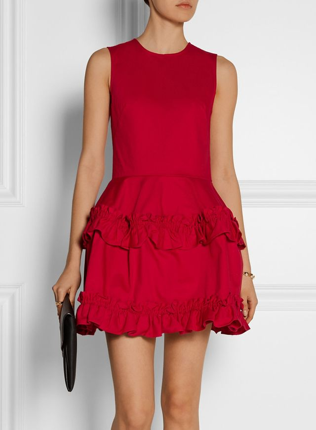 J Brand x Simone Rocha Red Tiered Ruffled Denim Dress