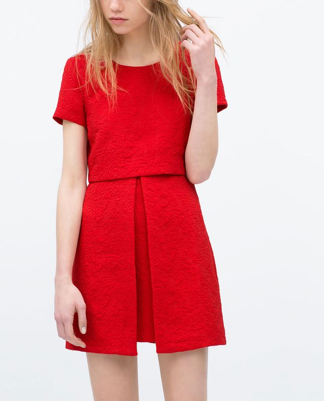Zara Asymmetrical Skirt Jacquard Dress