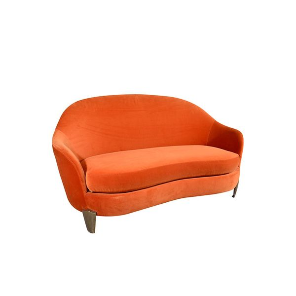 Garouste & Bonetti Velvet Loveseat With Bronze Legs
