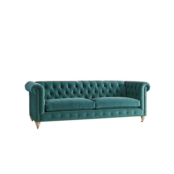 Anthropologie Velvet Lyre Chesterfield Sofa