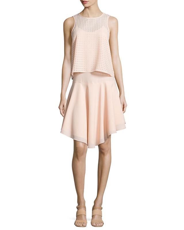 Tibi Windowpane Laser-Cut Layered Dress