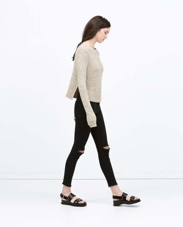 Zara High-Rise Ripped Skinny Jeans