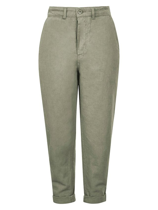 Topshop Washed Cotton High-Waisted Peg Trousers