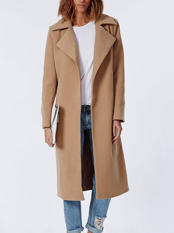 Missguided Khloe Premium Waterfall Camel Coat