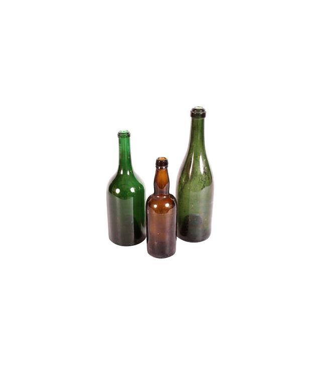 Chairish Vintage Decorative Green Glass Bottles