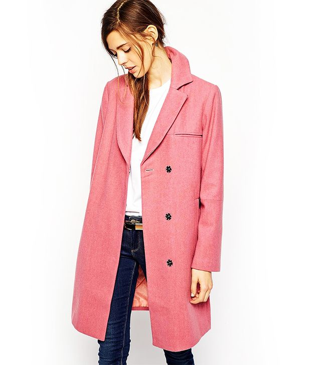 ASOS Coat with Zip Pocket Detail and Contrast Under Collar