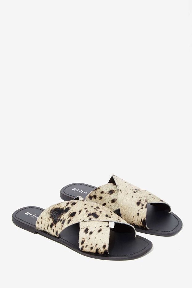 The Fifth Make You Jump Pony Hair Slide Sandals