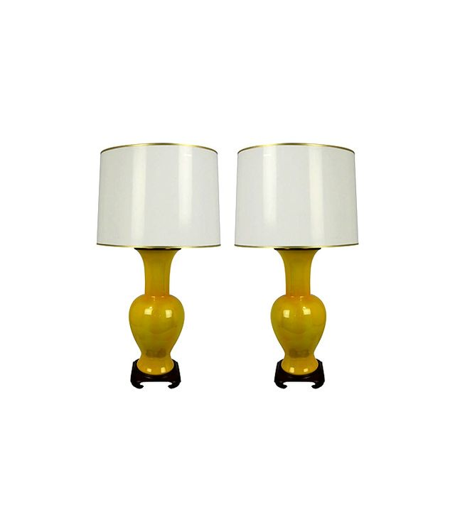 Paul Hanson Yellow Porcelain Urn Lamps