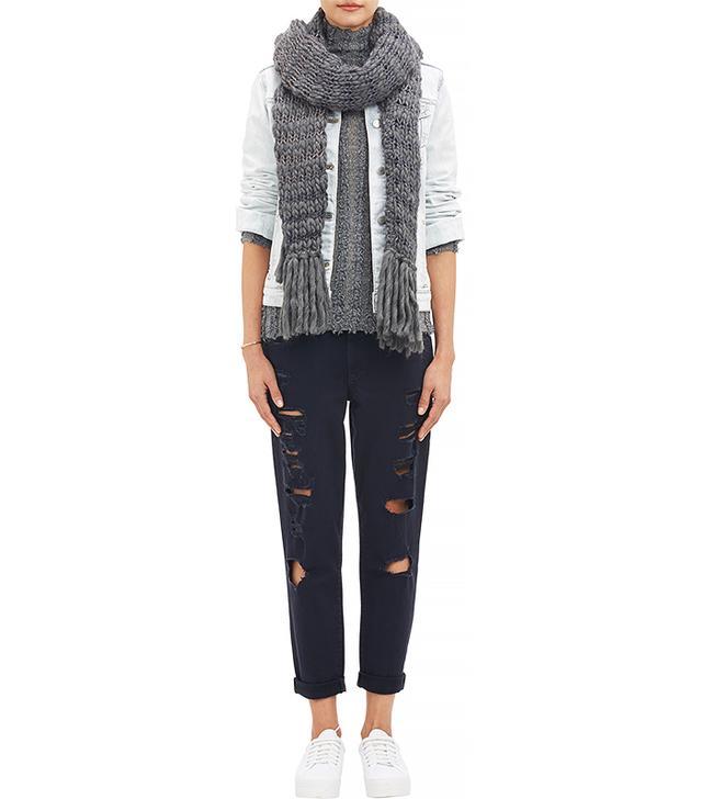 Anna Kula Stripe Chunky-Knit Scarf