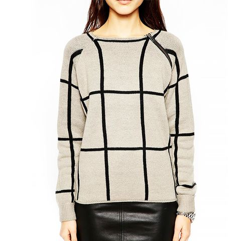 Risky Knit Sweater in Geometric Check