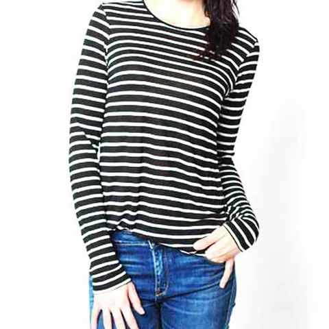 Round Bottom Tee in Black Stripe