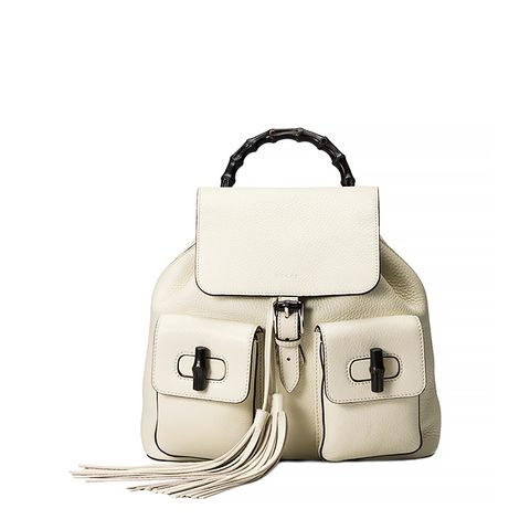Bamboo Sac Leather Backpack in White