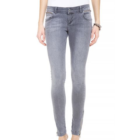 Double Zip Skinny Jeans in Gray