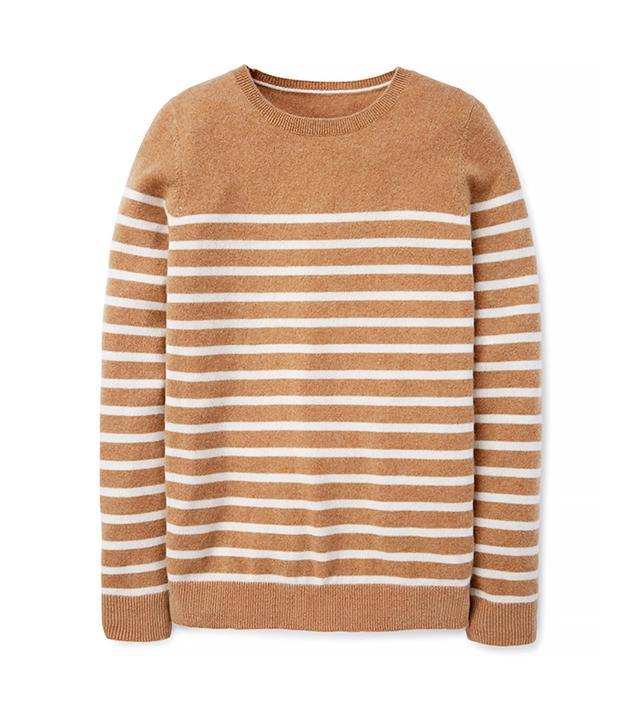 Boden Cashmere Crew Neck Sweater in Caramel & Ivory Stripe