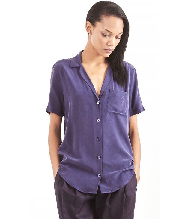 EQUIPMENT Short Sleeve Keira Shirt in Purple