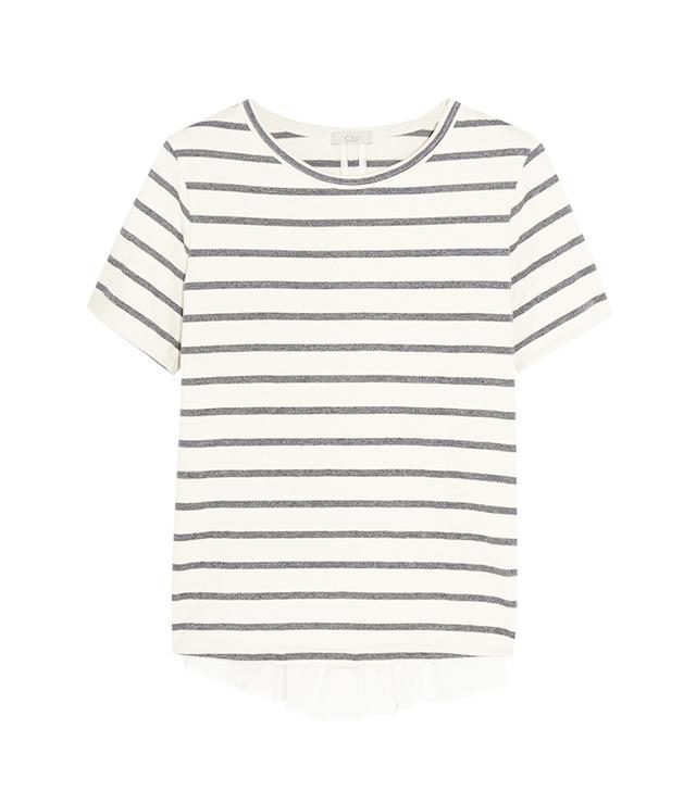 CLU Striped Cotton-Blend and Ruffled Silk Top