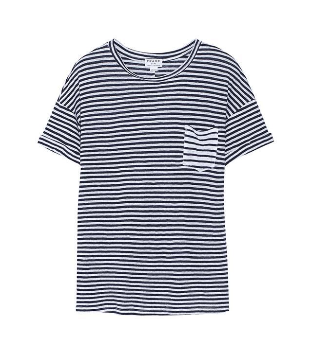 Frame Denim Le Boyfriend Striped Linen T-shirt