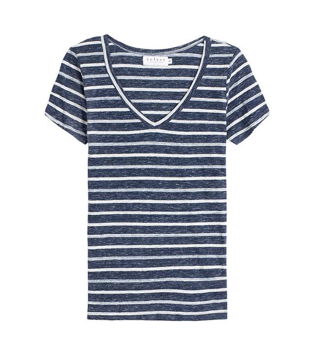 Velvet Striped Cotton T-Shirt