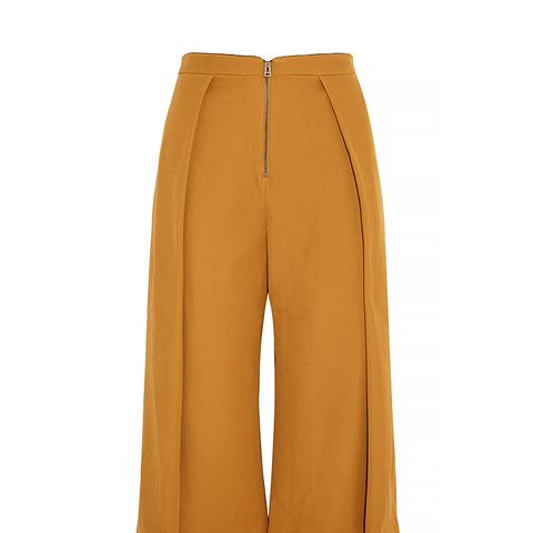 High-Rise Pleated Wool-Twill Culottes