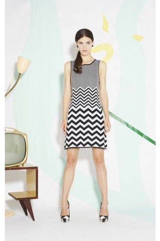 Alice + Olivia  Vix Chevron A-Line Dress