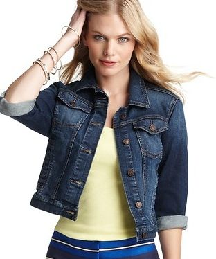 Loft  Cropped ¾ Sleeve Denim Jacket