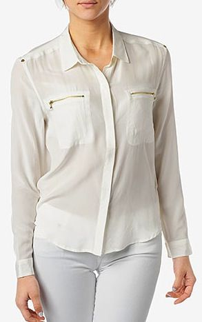 7 For All Mankind  Double Pocket Zipper Blouse