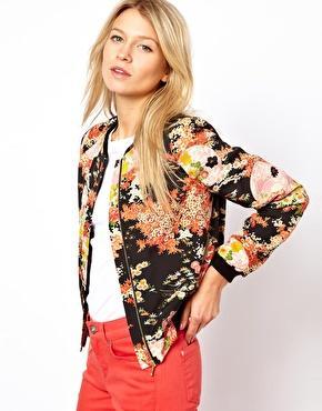 Oasis  Oriental Floral Print Bomber Jacket