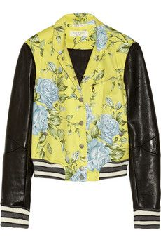 Rag & Bone Cambridge Floral-Print Cotton-Blend and Leather Bomber Jacket