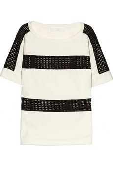 Thakoon Addition  Eyelet-Mesh and Cotton Top
