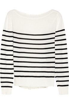 CLU  Striped Wool-Jersey and Silk-Chiffon Sweater