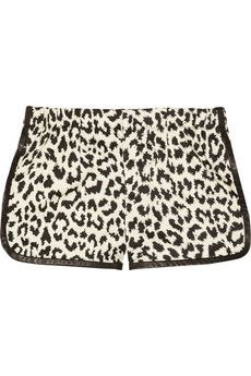 Thakoon Addition  Angry Leopard Stretch-Cotton Shorts