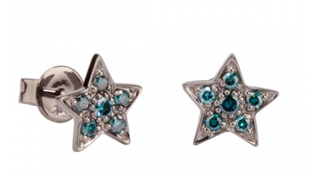 Sydney Evan Black Rhodium & Blue Diamond Star Studs