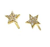 Jennifer Fisher Tiny Star Earrings w/ Pave White Diamonds