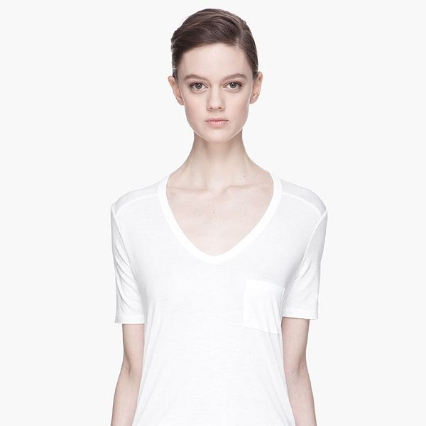 T by Alexander Wang  White Scoopneck Pocket T-Shirt