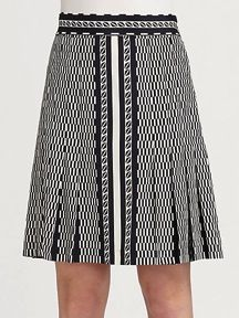 DKNY Maximo Geo Print Heavy Stretch Silk Pleated Skirt with Front Slit