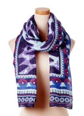 Theodora & Callum  Purple Multi Kenya Tie All Scarf