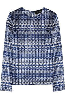 Derek Lam Ikat-Embroidered Mesh Top