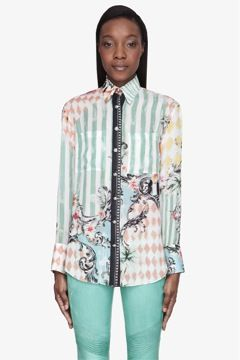 Balmain Green Multicolor Printed Silk Blouse