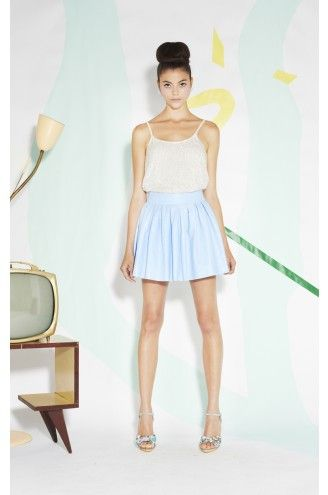 Alice + Olivia by Stacey Bendet Box Pleat Leather Skirt