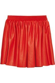Miu Miu Pleated Leather Mini Skirt