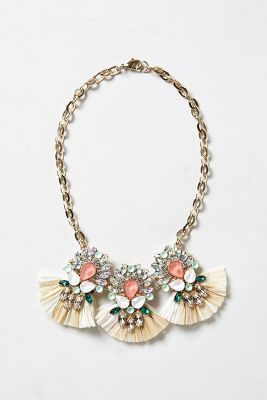 Anthropologie  Raffia Peacock Bib Necklace