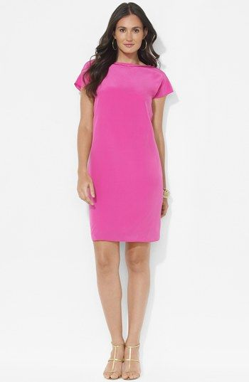 Lauren Ralph Lauren  Cap Sleeve Silk Shift Dress