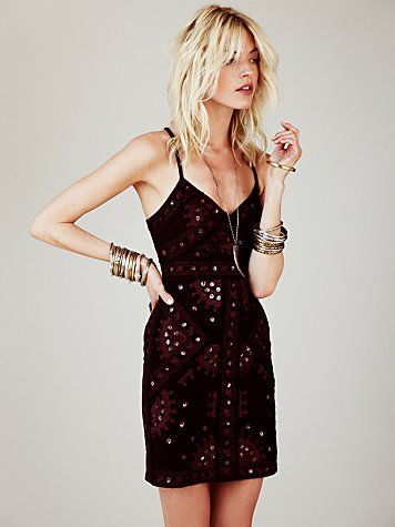 Free People Black Magic Mirror Bodycon Dress