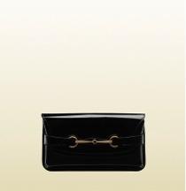 Gucci  Gucci Bright Bit Black Patent Leather Clutch