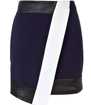 River Island Navy Contrast Panel Wrap Mini Skirt