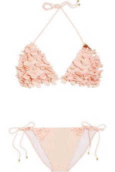 Miu Miu  Floral Appliqué Triangle Bikini