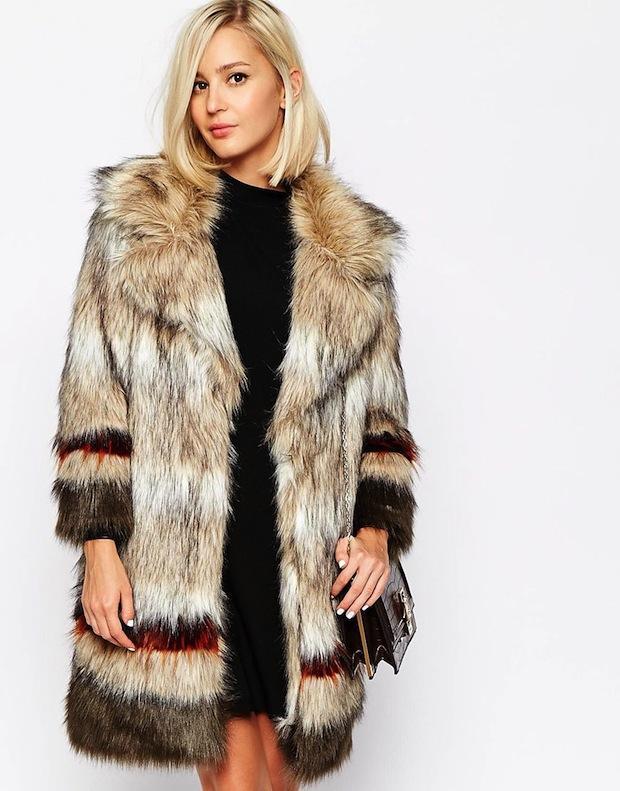 River Island Stripe Faux Fur Coat