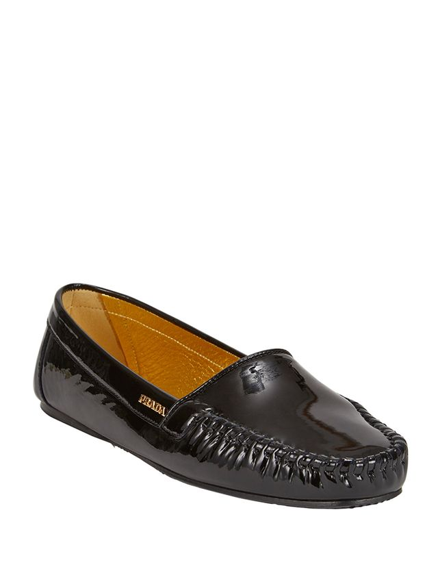 Prada Patent Whip-Stitch Loafers