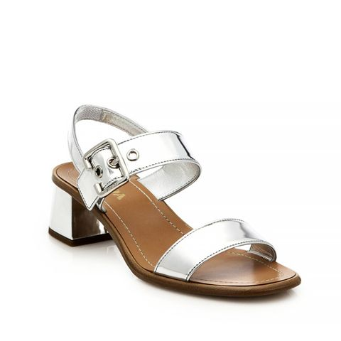 Metallic Leather Low Block-Heeled Sandals
