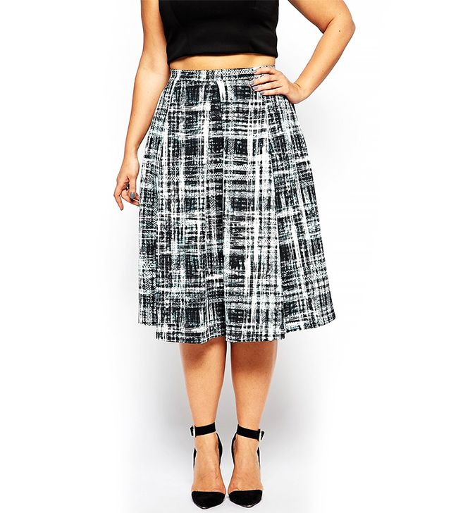 ASOS Curve Midi Skirt in Digital Check Print